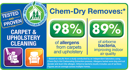 Chem-Dry's Carpet & Upholstery Cleaning Removes 98% of Allergens and 89% of Airborne Bacteria